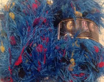 Blue Eyelash Yarn - Circus - Fiber Trends Distributor of New Zealand NATURALLY Hand Knit Yarns Fiber  Shade 255 approx.  50 grams/38 yards