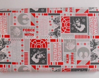 LAST 2 PIECES Star Wars Christmas Merry the Force Be With You Fabric, Han Solo Star R2D2 C3PO, Officially Licensed, Remnant