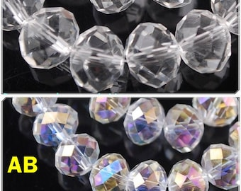 Choose your size: 8mm x6mm / 4mm x3mm / us3 x2mm swarovski Pearl rondelle faceted clear 8 mm x 6 mm x 4 mm 3 mm x 2 mm rondelle beads