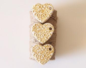 Elegant wedding favors set of 3 - Clay heart decorations - Gold wedding decor - Victorian wedding - Valentines gift - Christmas decorations