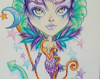 Perpetua Fantasy Lowbrow Pop Surrealism 8.5 x 11 Art Print by Leslie Mehl Art