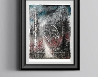 Giclee Art Print - Mixed Media Watercolor - Welcome Winter - 9x12 - Tree Talker Art