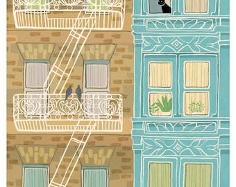 Fire Escapes - 9x12 print - urban brownstone victorian black cat