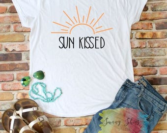Sun Kissed Tshirt, Beach Tee, Vacation Shirt, 4TH of July, Vacation, Bathing Suit Cover Up, Lake Life, Boat T-shirt, Lake Life, Gift for Her