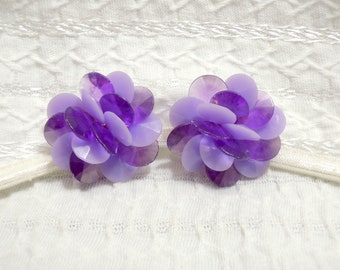 Vintage Cluster Earrings - Lavender and Purple Discs - Floral Mum Design - 1950s-60s - Clip On - Vintage Costume Jewelry