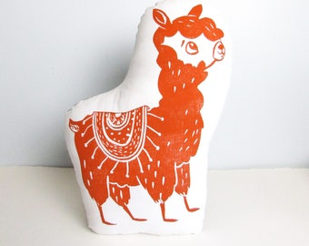 Llama Shaped Animal Pillow. Alpaca Plushie. Woodblock Printed. Made to Order. Choose ANY color.
