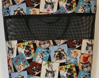Large Tote Bag, Handmade Cats Kittens Kitties