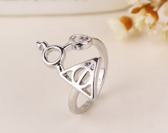 Harry Potter Ring // Deathly Hallows Lightning Bolt Scar Glasses // Silver Harry Potter Jewelry