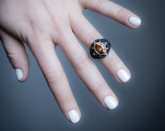 Quartz Citrine Silver 925 Macrame Ring