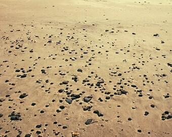 Sea photography, the beach. Photo print. Cailloux sur le sable.