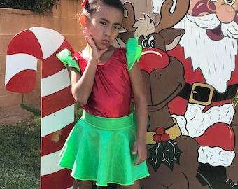 Holiday Elf  (Child) Flutter Sleeve Leotard & Skirt....