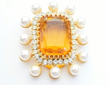 Fabulous Large Yellow Glass Stone Prong Set Rhinestones Faux Pearls Vintage Scarf Clip Pin