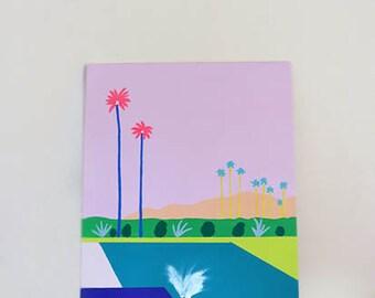 Splash, Original Canvas Painting, Acrylic Painting, Pop Art, Palm Springs, Swimming Pool, Pastel Art, Canvas Art, Summer Art, Home Decor,
