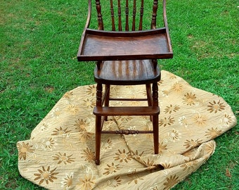 Vintage Wooden Baby High Chair , First Happy Birthday, High Chair For A  Cake Smash