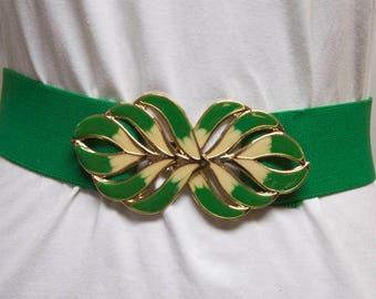 Vintage 1980s Green stretch belt with enamel buckle - St. Patrick's Day Belt