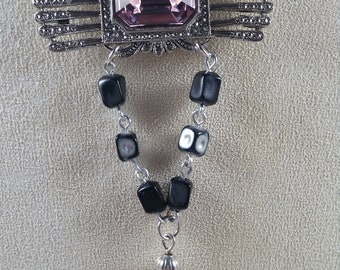 Up Cycled Vintage Statement Necklace, Multi Chain Necklace, Antique Silver Finish, One of  Kind