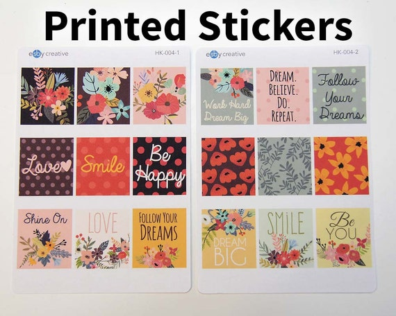 Ec horizontal planner stickers cute quote and design boxes printed stickers polka dots flowers hk 004 from esbycreative on etsy studio
