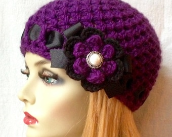 Crochet Womens Hat, Beanie, Purple, Very Soft, Chunky, Flower, Ribbon, Warm, Teens, Winter, Ski Hat, Cancer Hat E222B2