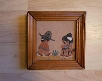 Sand Painting Navajo Girl and Boy Framed Vintage Native American Children Sand Hanging Wall Art Desert Landscape