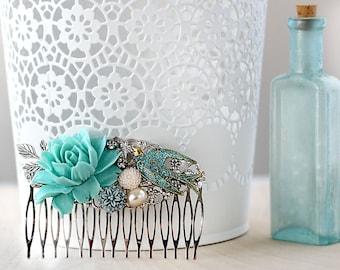 Silver Bridal Hair Comb - Floral Hair Comb - Boho Wedding Hair Accessories - Rustic Wedding Hair Piece - Vintage Style Bridal Hair Comb