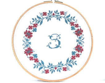 Cross stitch letters pattern pdf Monogram cross stitch personalize Wreath cross stitch Font cross stitch nursery name of baby first letter
