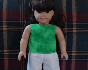 """18"""" Doll Clothes - Green Top and White Shorts DYD026"""