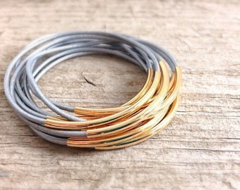 CLEARANCE, Silver Leather Bangle Bracelets, Silver Bangle, Silver Bracelet, Bohemian Bracelet, Choose Silver or Gold, Bohemian Jewelry