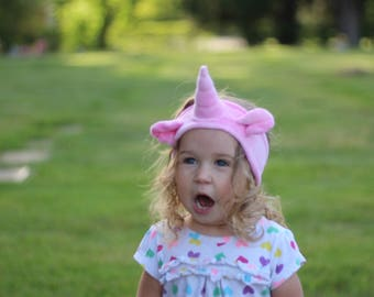 Organic Pink Unicorn Headband, hand dyed with eco friendly dyes and love, eco kids, vegan kids