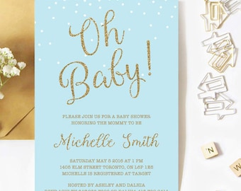 Baby Shower Invitation Boy, Confetti Baby Shower Invitation, Blue And Gold, Glitter, Oh Baby, Spring, Printable, Printed