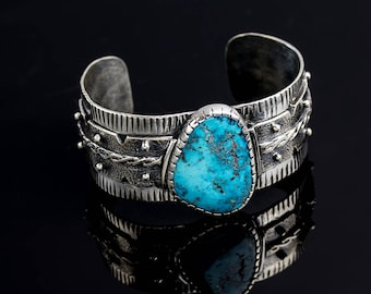 Morenci Turquoise Sterling Silver Cuff Bracelet