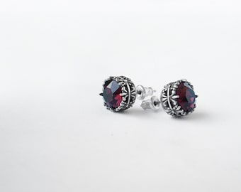 Gift for Women Burgundy earrings Red stud earrings Swarovski studs earrings gift for girlfriend mother mom