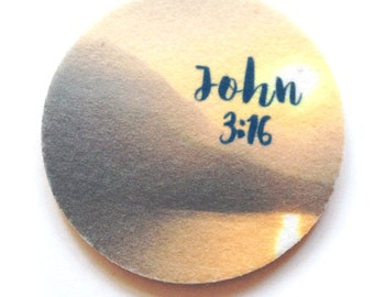 Car coasters for your car's cup holder - Set of two super absorbent car coaster John 3:16 - Free Shipping - Buy One = Give Clean Water