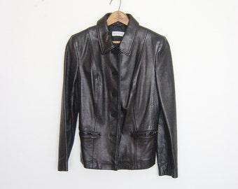 vintage black leather jacket petite xs