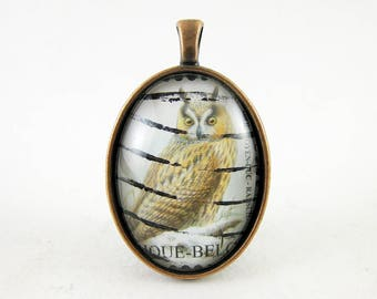 Owl in the Snow Pendant, 2002 Belgium Postage Stamp, Antique Copper, Bird Jewelry, Long Chain, Everyday Necklace, Unique Gift Idea for Her