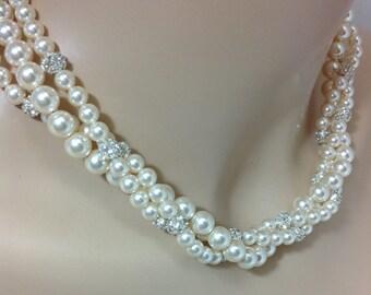 Triple Strand Swarovski Crystal Pearl Rhinestone Ball Bridal Necklace, The Amanda