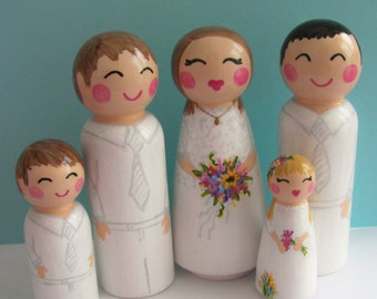 Families Can Be Together Forever Hand Painted Love Boxes Peg Dolls Family of 6