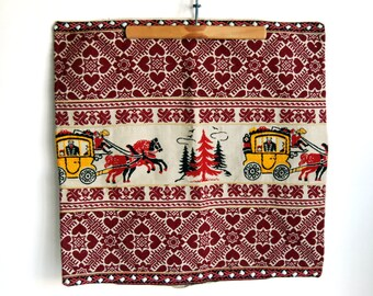 Folk Art Textiles, German Pillow Cover, Embroidered Trim, Red Christmas Decor, Bavarian Textile, Hearts Pine Trees Horse, Cottage Chic Decor
