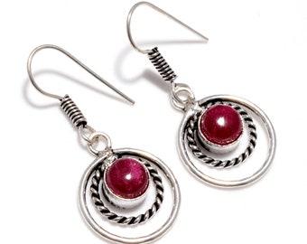 Beautiful Ruby 925 Silver Earrings