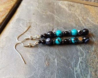 Long dangles with banded agate & turquoise earrings