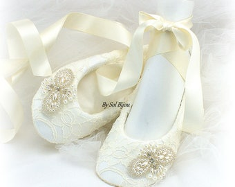 Beaded Ballet Flats Shoes Ivory Lace Flats Ivory Ballet Shoes Wedding Flats Lace Ballet Slippers Bridal Shower Shoes Vintage Wedding