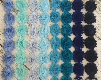 Shabby Chiffon Flower Trim - Your Choice of Color And Quantity! BLUE SCHEME - 1/2 yard or 1 yard - Sky - Baby - Turquoise - Royal - Navy
