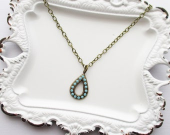teardrop turquoise pendant necklace, turquoise necklace, turquoise pendant necklace, teardrop necklace, pendant necklace, pendant, necklace