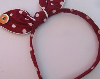 burgundy headband with white dots for two 18 / 20mm snap