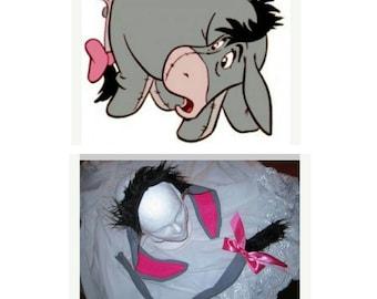Upcycled Clothing, Eeyore Headband and Tail, Winnie the Pooh, Handmade Costume Accessory