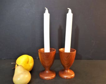 Mid Century Danish Modern Teak Candlesticks -  Goblet Shaped Teak Candle Holders - Set of 2 - Mid Century Modern Turned Wood Candle Holders
