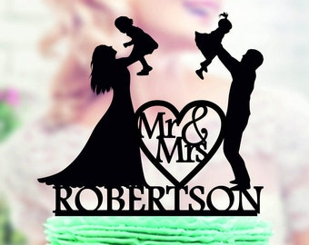 Family Wedding Cake Topper Bride and Groom Two Little Girls and Last Name, Bride and Groom Topper, Cake Topper  with Kids , Mr&Mrs Topper