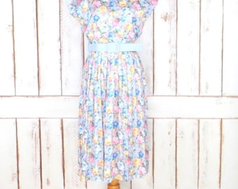 70s vintage blue pink floral cap sleeve midi belted dress/pleated pullover day dress
