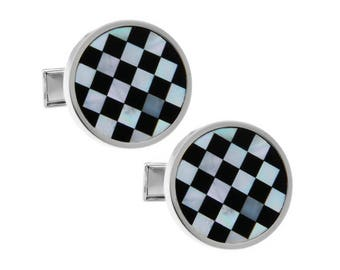 Black & White Check Shell Cufflinks