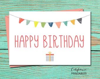 Happy Birthday PRINTABLE CARD, Happy Birthday Card, DIY Instant Download Card, Party Birthday Card, B-day Card, Birthday E-Card, E-Card 15
