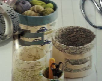 Fabric bucket pattern 4 sizes storage home accessories organize